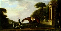 a chesnut hunter being led by groom with two hounds by richard roper
