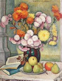 still life with fruits and vase with chrysanthemums by traian biltiu dancus