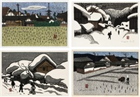 landscape/ winter in aizu/ winter in aizu/ plowing the field (set of 4) by kiyoshi saito