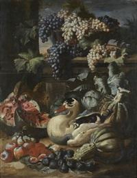 canards au milieu de pastèques, pommes, figues et panier de raisins (+ crustacés, panier de poissons et cornet de fraises disposés sur un entablement; pair) by jacob van der kerckhoven
