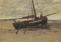fishing boat at low tide by charles paul gruppe