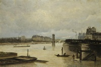 paris, la seine vue du port de l'arsenal by stanislas lépine