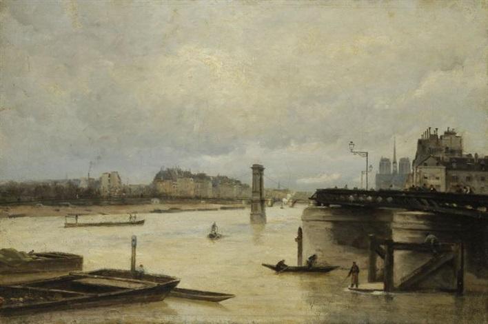 paris la seine vue du port de larsenal by stanislas lépine