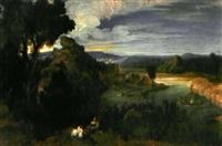 paysage au lac et aux promeneurs by francisque (joseph f.) millet