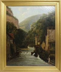 village de montagne près d'une cascade by couturier