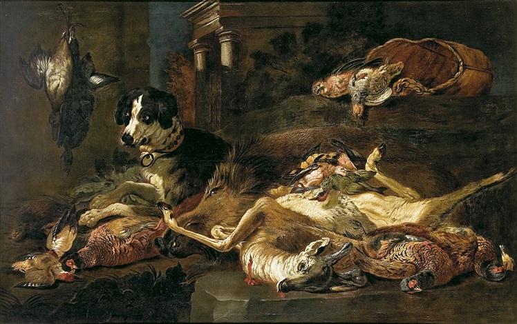 bodegón de caza con perros by jan fyt