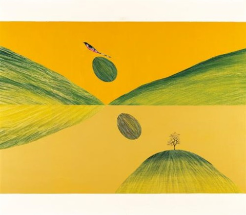 untitled bird tree and mountain by jagdish swaminathan