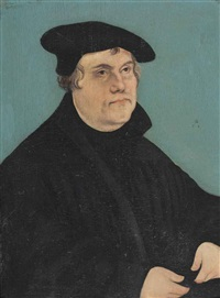 portrait of martin luther (1483-1546), half-length, in a black coat and beret by lucas cranach the younger