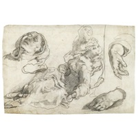 the virgin fainting, supported by one of the holy women, with subsidiary studies of the virgin's head and hands (+ drapery study of a standing figure, leaning over to the left, verso) by taddeo zuccaro