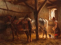 the feeding of the chickens in the stable by wouter verschuur the younger