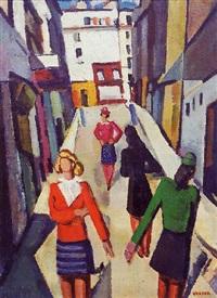jeunes femmes dans une rue à montmartre by albert voisin