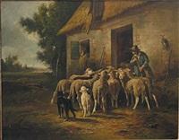 berger et ses brebis devant la bergerie by emile godchaux