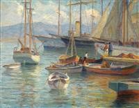 greek harbor scene by stelios miliadis