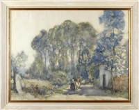 figure with cow before a cottage by sir alfred east
