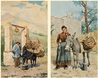 watering a donkey (+ another; pair) by hyacinthe alchimowicz