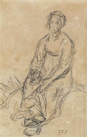 a seated peasant woman recto and a fragmentary study of the lower half of a seated woman verso by jean françois millet