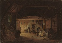 at work in the barn by jacques-albert senave