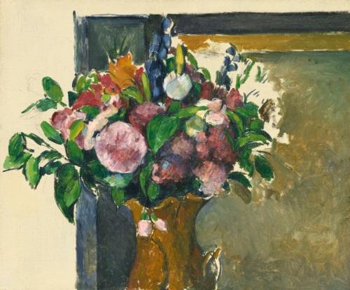 fleurs dans un vase rouge by paul cézanne