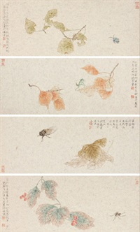 工笔草虫 (4 works) by rao wei