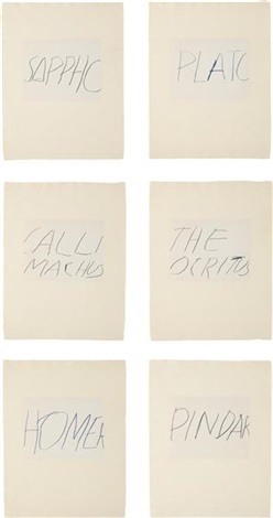 five greek poets and a philosopher portfolio (set of 7) by cy twombly