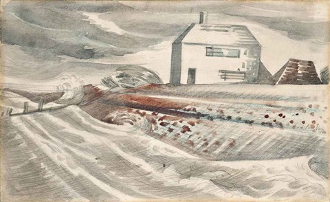 cottage in a windswept landscape by paul nash
