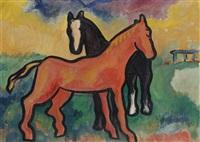 twee paarden by hendrik nicolaas werkman