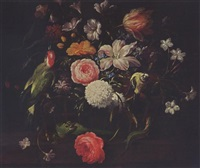 a still life with a rose, and other flowers, with a butterfly, a woodpecker, a green tit and two green lizards by philips van kouwenberg