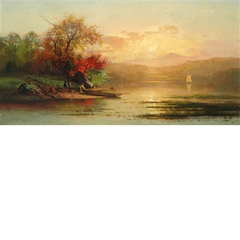 autumn sunset over a lake by arthur parton