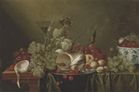 cherries and a conch shell on a silver platter by jan pauwel gillemans the elder