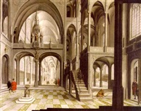 a view of a church interior (st. john lateran cathedral, rome?) by hendrick aerts