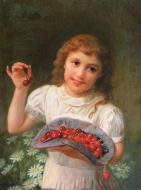 girl with cherries by adolph langhard