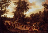 a wooded landscape with the reconciliation of jacob and esau by david colyns