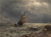 ship in a storm by lev felixovich lagorio