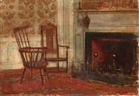 intérieur avec cheminée by walter gay