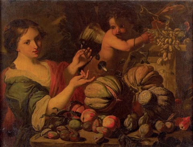 nature morte de fruits avec femme et amour by abraham brueghel