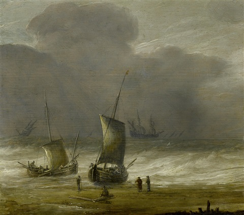 fishermen on a shore with shipping in a choppy sea by pieter mulier the elder