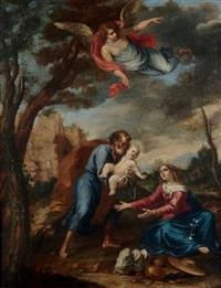 repos de la sainte famille pendant la fuite en egypte by luigi garzi