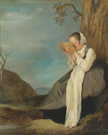a seated woman drinking from a bowl in a landscape by willem van houten