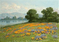 poppies and lupine in a california landscape by william franklin jackson
