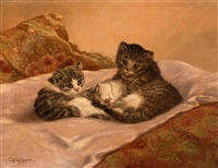 three caressing kittens by cornelis raaphorst