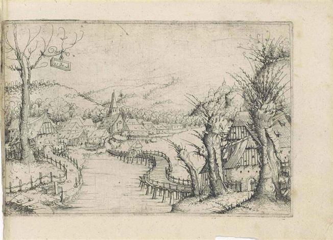 landscape with a winding wooden bridge by augustin hirschvogel
