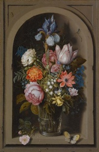 a still life of flowers in a glass beaker set in a marble niche by ambrosius bosschaert the elder
