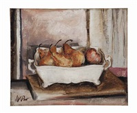 still life with pears in a dish by henry varnum poor