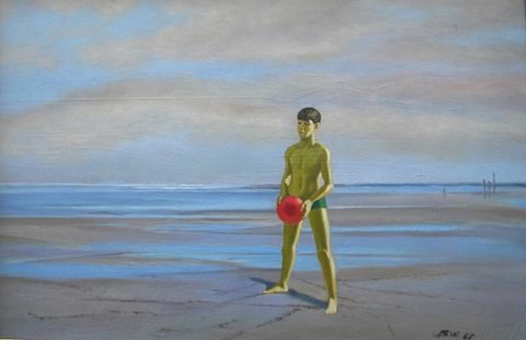 boy with red ball by robert r. bliss