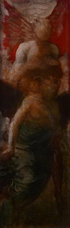 an angel with a subsidiary figure by george frederick watts