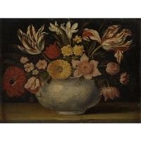 nature morte de fleurs dans un vase en porcelaine sur un entablement by jacques linard