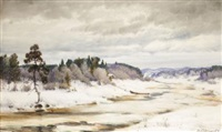 winter landscape by ivan ivanovich endogouroff
