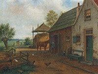 the farmyard by marinus adrianus koekkoek the younger