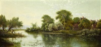 eynesbury church on the river ouse by edwin henry boddington