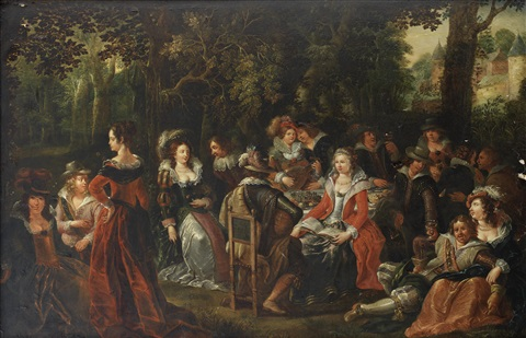 a merry company in a woodland clearing by louis de caullery